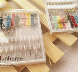 Hotel mini sewing kit in plastic case 10 threads