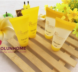 New design hotel shampoo tube with stamping gold