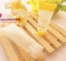 Hotel guestroom frosted body lotion tube